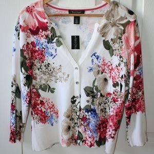 White House Black Market Floral Cardigan, Size L